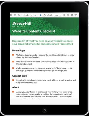 Breezy Hill Marketing Website Content Checklist